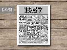 70th Birthday Poster 1947 Poster 1947 Facts by shopmarigoldlane