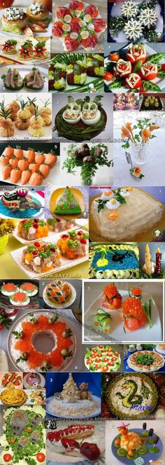 This Pin was discovered by Све Appetizer Buffet, Appetizers, Easy Food Art, Food Carving, Christmas Dishes, Food Decoration, Food Platters, Russian Recipes, Food Crafts