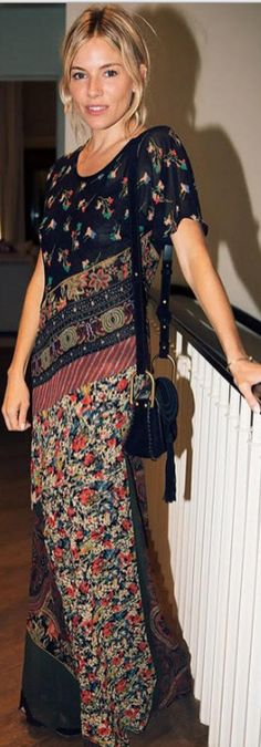 Who made Sienna Miller's black suede handbag and floral maxi dress?