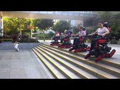 Wheelchair users' outdoor fun with Stair-Climbing B-Free chair, amazing group down stair scene - YouTube