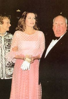 grace&family:  Princess Grace of Monaco with her mother, Margaret Kelly, and director Alfred Hitchcock