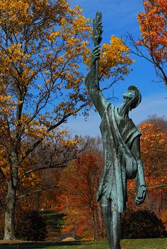 Johnny Appleseed statue at Spring Grove Cemetery...John Chapman was a mild-mannered man born shortly before the start of the American revolution.  He's known for planting apple trees across large sections of the Midwest.