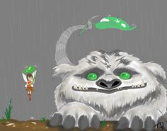 Gruff's first rain with Fawn ...  Drawn by joselyn 565 ...  gruff, fawn, tinkerbell, Gruff the NeverBeast, neverbeast