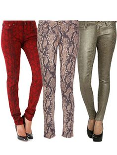 Snakeskin Overload -   Snakes seriously scare us, but when it comes to reptile-like jeans, we can be a little brave. How amazing are these? You can't get much edgier than snakeskin skinnies!    Red Snake Pattern Printed Denim, $108, bigstarusa.com    Emma Jeans in Slither, $178, dl1961.com    Metallic Coated Python Jeggings, $69, ardenb.com