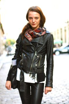 love the pop of colour, plaid no less, with this biker look.