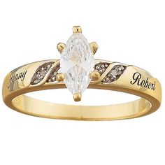 Two-Tone Marquise CZ & Diamond Name Wedding Ring Sterling Silver with 18K gold overlay One carat CZ solitaire Genuine diamond accents sparkle on either side Engrave with two names, up to 10 letters per name Sizes: 5-12 Every piece of Wal-Mart jewelry passes rigorous inspection at our Quality Assurance labs. So you can buy with confidence - guaranteed. Learn More'