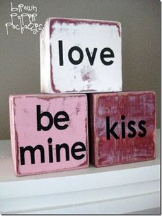2x4 Valentine Conversation Blocks--would be cute to cut them heart-shaped