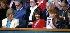1988-06-27 Diana and Sarah, accompanied by Catherine Weatherall Soames, attend a tennis match between Steffi Graf and Mary Joe Fernandez at Wimbledon