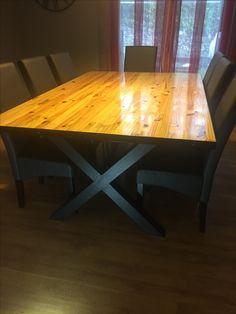 6cac8877bc0abf Table salle à manger Pied acier carré 80, plateau bois ,corbière acier 40