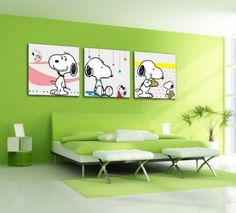 Bernice -Canvas Art,Canvas Print,No Framed,Lovely Painting,Snoopy,3 Panel Print,Hot Sell Modern Canvas Wall Art... | shopswell