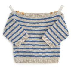 Marinière bébé Augustin - modèle à tricoter - Marinière bébé Augustin – modèle à tricoter – Tutoriels de tricot chez Makerist - Knitted Hats Kids, Knitting For Kids, Crochet For Kids, Crochet Baby, Knit Crochet, Crochet Sweaters, Baby Sweater Knitting Pattern, Baby Knitting Patterns, Knitting Designs