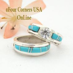Four Corners USA Online - Size 4 1/2 Turquoise Engagement Bridal Wedding Ring Set Native American Wilbert Muskett Jr WS-1520, $240.00 (http://stores.fourcornersusaonline.com/size-4-1-2-turquoise-engagement-bridal-wedding-ring-set-native-american-wilbert-muskett-jr-ws-1520/)