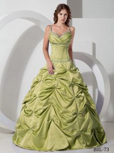 Beautiful Ruched Quinceanera Dress with Spaghetti Straps Taffeta Beading