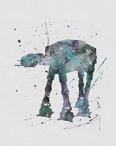 AT-AT Walker Star Wars Watercolor Art - VividEditions