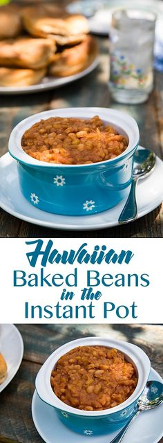 These Hawaiian Baked Beans are sweetened with pineapple, maple syrup, and dates for a delicious vegan side dish that is low in sugar and ketchup-free. Instant Pot Pressure Cooker, Pressure Cooker Recipes, Hawaiian Baked Beans, Fat Free Vegan, Vegan Side Dishes, Main Dishes, Vegetarian Recipes, Healthy Recipes, Vegan Kitchen