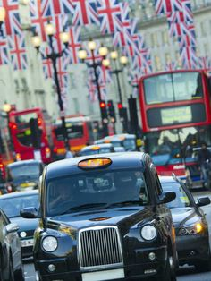 London, Regent Street, Taxis and Union Jack Flags