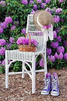 flowers, chair, shoes, and hat