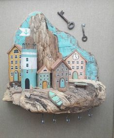 Понравилось Driftwood Wall Art, Driftwood Projects, Driftwood Ideas, Rock Crafts, Diy And Crafts, Arts And Crafts, Wood Block Crafts, Wooden Crafts, Craft Projects