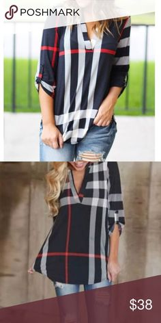 🆕 The SYLVIA Plaid Tunic Top Gorgeous plaid style top. Features a tab that could hold your sleeve so you can wear it as a 3/4 sleeve style. Will go great with your favorite bottoms and boots or booties! Material: polyester/ spandex Tops