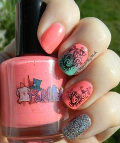 Pahlish 10/6, KBShimmer Shore Thing, Born Pretty Store water slide decals | Be Happy And Buy Polish http://behappyandbuypolish.com/2015/07/20/water-decal-skittlette-with-pahlish-kbshimmer/