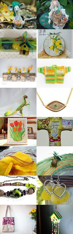 Treasuryday - yellow and green by Chris on Etsy--Pinned+with+TreasuryPin.com