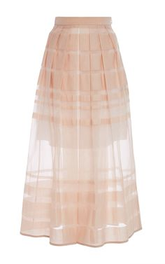 Pale Pink Stripe Organza Skirt by Tibi Now Available on Moda Operandi