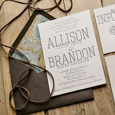 travel themed wedding? these are a MUST then! amazing rustic styled invitations with envelopes lined with the world map #invitations #rustic #travel #wedding http://justinviteme.com/collections/styled-collections/products/callie-suite-rustic-package
