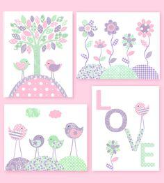 Bird Nursery Art Baby Girl Decor Love Print Flower Nursery Art Pink Mint Purple Lavender Baby Shower Gift Girl Room Decor Nursery Wall Art by SweetPeaNurseryArt on Etsy