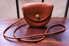 Tiny British Tan Vintage Leather Coach Bag by TheLionsDenStudio, $118.22