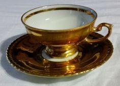 VINTAGE DEMITASSE CUP AND SAUCER GOLD MADE IN BAVARIA  #TEACUP