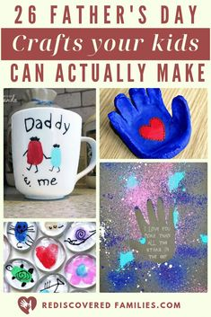 Need some simple Father's Day crafts for your kids to make? Here's a great list of fun DIY gifts for the dads in your lives. Click over to check them out. Kids Crafts, Easy Arts And Crafts, Crafts For Kids To Make, Gifts For Kids, Art For Kids, Art Crafts, Art Children, Diy Father's Day Gifts, Father's Day Diy