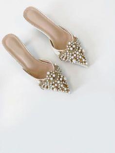 Valentina Pearl Embellished Kitten Heel (PRE ORDER) | Cream  – Vita Grace