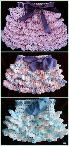Crochet Ruffled Skirt Free Pattern [Video]- #Crochet Girls Skirt Free Patterns