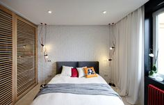 Modern And Stylish Bedroom Design With Red Theme For Adults Colorful Apartment, White Apartment, Wall Paint Combination, Small Apartments, Small Spaces, Small Bedroom Colours, Camas King, Paint Combinations, Cama Box