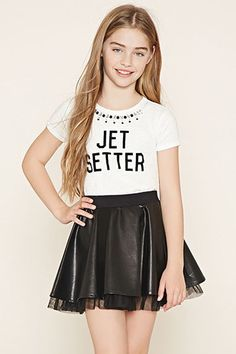 Forever 21 Girls - This faux leather skirt features an elasticized waist and a tulle lining underneath its hem. Young Girl Fashion, Preteen Girls Fashion, Girls Fashion Clothes, Fashion Outfits, Boys And Girls Clothes, Kids Outfits Girls, Girls Dresses, Mini Dresses, Ball Dresses