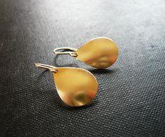 Gold Teardrop Earrings Simple Geometric Earrings by roundabout, Etsy.com