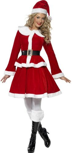 Santa Hat Father Christmas Festive Seasonal Women/'s Fancy Dress Costume