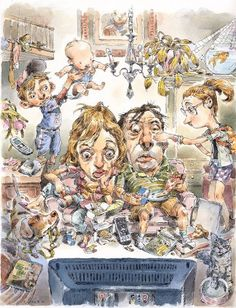 That John Cuneo sure can draw. Click on through to see the loose preliminary drawings for this piece.  (via John Cuneo - Binge Viewing)