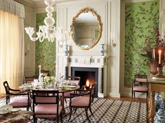 Elegant design by Bunny Williams Interior Decorator Architectural Digest, Bunny Williams Home, Fireplace Mirror, Metallic Wallpaper, Dining Room Design, Dining Rooms, Interior Decorating, Interior Design, White Aesthetic