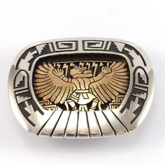 Sterling Silver and 14k Gold Western Style Belt Buckle with Overlaid Eagle Kachinaand Pueblo Scene Design.The Eagle is a messenger to the heavens that carries