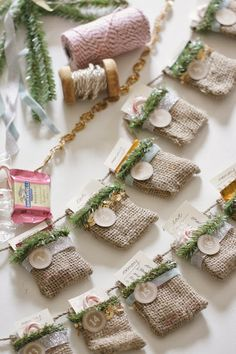 burlap & greenery advent calender -- less than $5 for all materials