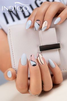 Painting Nails Different Colors Trend. New Painting Nails Different Colors Trend. Dangers Of A No Chip Manicure Spring Nail Art, Spring Nails, Fall Nails, Fall Nail Designs, Acrylic Nail Designs, Cute Nails, Pretty Nails, Fall Acrylic Nails, Indigo Nails