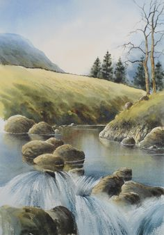~Waterfalls - see this watercolour video lesson now, only on ArtTutor.com~