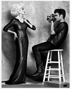 Jon Kortajarena turns model photographer to shoot the world's oldest working fashion model Carmen Dell'Orefice. The model pair are shot in real-life by Dean Isidro, wearing glam eveningwear and luxe daywear, styled by Luisa Pena for the style guide of Mexican department store El Palacio de Hierro | Guy with camera