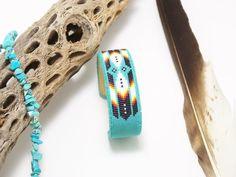 Native American Beaded Cherokee Turquoise Cuff Bracelet 4