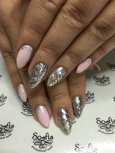 Nail by Somfis!!! Nail art ideas for pink nails with glitter silver. www.somfisnails.com