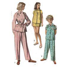 Girl's Pajamas Pattern 50s Sewing Pattern Summer by HoneymoonBus, $7.99