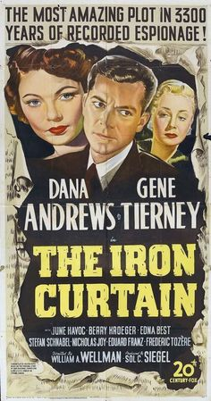 The Iron Curtain (1948) Classic Movie Posters, Movie Poster Art, Classic Movies, Classic Tv, Old Movies, Vintage Movies, Greek Words For Love, Dana Andrews, Film Theory