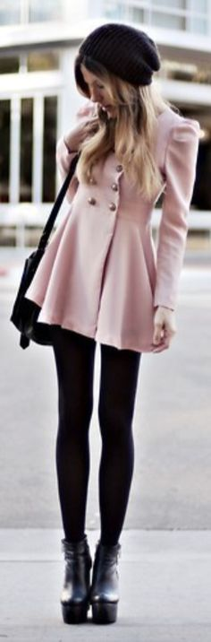 Cute black jeggings with cute pink coat!!