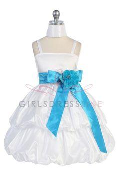 White/Turqouise Taffeta Flower Girl & Jr. Bridesmaid Dress CD-578-AQ $52.95 on www.GirlsDressLine.Com